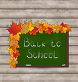 School green board with leaves on wooden texture vector image