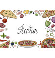 set of hand drawn italian food elements isolated vector image vector image