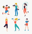 set people fitness workout vector image vector image
