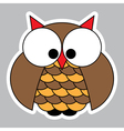 sticker - colored cute owl with big squinting eyes vector image vector image