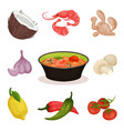 tom yam kung spicy soup with ingredients thai vector image