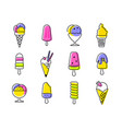 types ice cream - set line design vector image