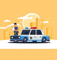 urban modern sedan police car with policeman vector image vector image