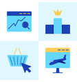 website search optimization icon set in flat style vector image vector image