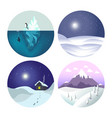 winter landscapes isolated icons countryside view vector image vector image