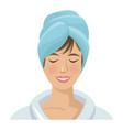 woman with towel on head spa treatment vector image vector image