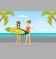 young women in beachwear walking along beach and vector image