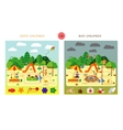 Set Kids playing on playground Swinging and vector image