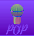 music microphone pop music colorful drawing vector image