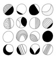 abstract black and white doodle circles vector image