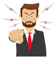 angry business man pointing his finger at you vector image vector image