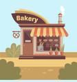 bakery store building facade with signboard smoke vector image vector image