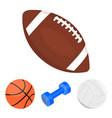 blue dumbbell white soccer ball basketball vector image vector image