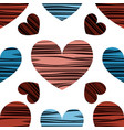 blue red and pink hearts with stripes vector image