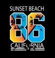 california sunset beach vector image