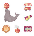 circus and attributes cartoon icons in set vector image