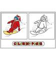coloring santa pig on snowboarding vector image vector image