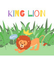 cute lion cartoon in exotic vector image vector image