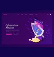 cybercrime attack isometric landing page banner vector image