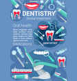 dentistry treatment poster dental accessory vector image