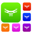 drone video camera set collection vector image vector image