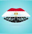 egypt flag lipstick on the lips isolated on a vector image vector image