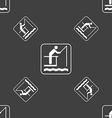 fishing sign Seamless pattern on a gray background vector image vector image