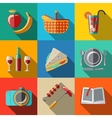 Flat icons set picnic - basket plate spoon vector image vector image