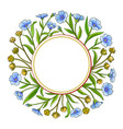 flax plant frame on white background vector image vector image