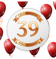 Golden number thirty nine years anniversary vector image vector image