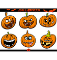 halloween pumpkins cartoon set vector image vector image