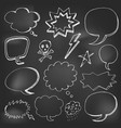 hand drawn cartoon speech bubble on black board vector image vector image