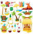 hawaii hawaiian beach with tropical palm vector image vector image
