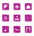 ladies day icons set grunge style vector image
