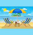 landscape of wooden chaise lounge vector image vector image