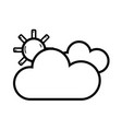 line beauty weather of clouds with sun vector image vector image