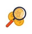 money coins and magnifying glass icon vector image
