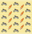 motorcycle and surfboard background vector image