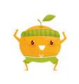 orange fruit doing sports sportive fruit cartoon vector image vector image