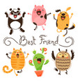 panda pig dog cat and owl best friends vector image
