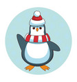 penguin with hat and scarf cartoon vector image vector image
