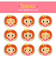Princess little girl cute emotions set vector image vector image