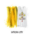 realistic watercolor painting flag of vatican vector image vector image