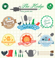 Retro Garden Shop Labels and Icons vector image