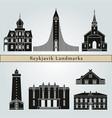 reykjavik landmarks vector image vector image