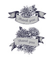ribbon design of asters with thank you sing hand vector image vector image
