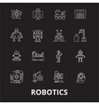 robotics editable line icons set on black vector image vector image
