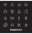 robotics editable line icons set on black vector image vector image