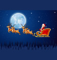santa claus boarded a deer sledbackground scenery vector image
