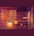 sauna empty room with glass doors wooden bathhouse vector image vector image